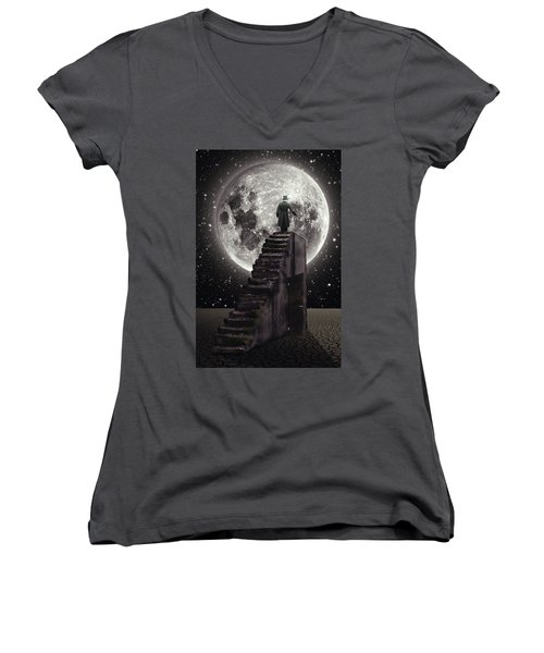 Where The Moon Rise Women's V-Neck T-Shirt