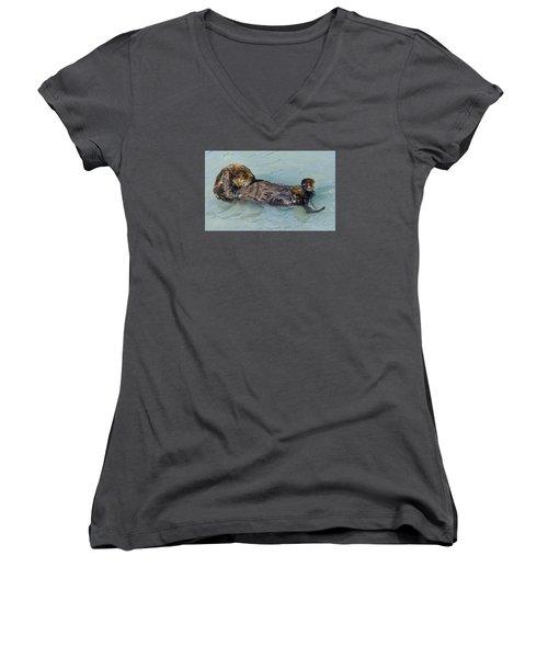 Wheres My Navel Women's V-Neck T-Shirt (Junior Cut) by Harold Piskiel