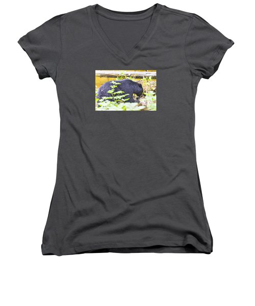 Wheres The Bagel Women's V-Neck T-Shirt (Junior Cut) by Harold Piskiel