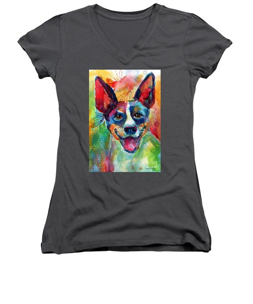 Whimsical Rat Terrier Dog Painting Women's V-Neck