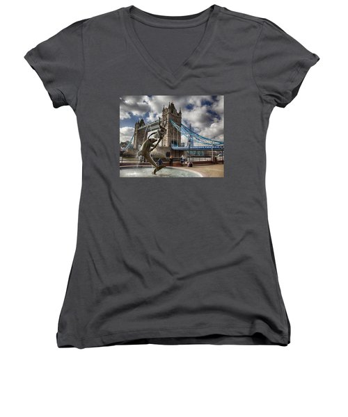 Whimsy At Tower Bridge Women's V-Neck (Athletic Fit)