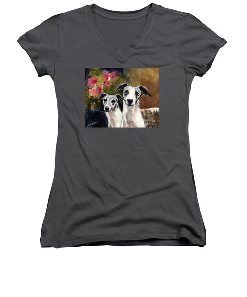 Women's V-Neck T-Shirt (Junior Cut) featuring the painting Whippets by Molly Poole