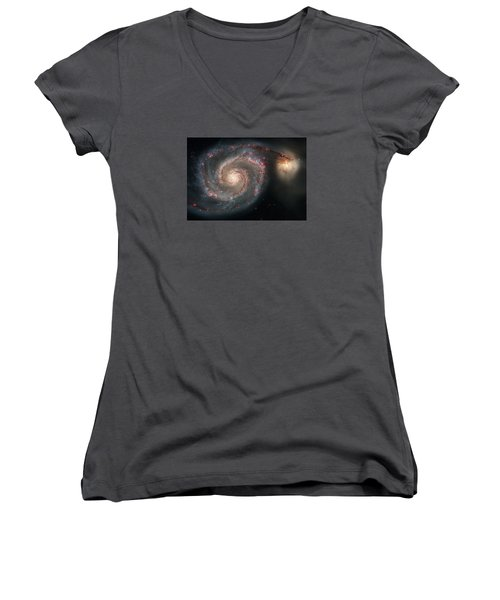 Whirlpool Galaxy And Companion  Women's V-Neck T-Shirt (Junior Cut) by Hubble Space Telescope