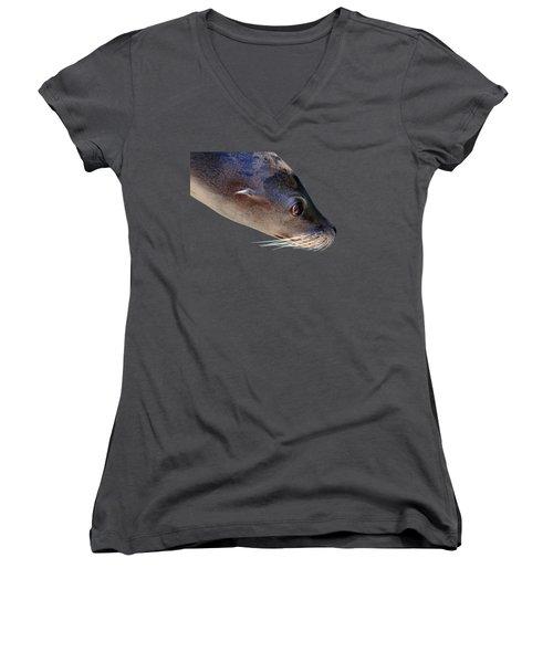 Whiskers Women's V-Neck T-Shirt (Junior Cut) by Debbie Oppermann