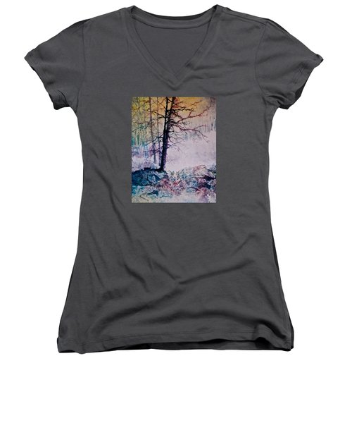 Whispers In The Fog Women's V-Neck T-Shirt (Junior Cut) by Carolyn Rosenberger