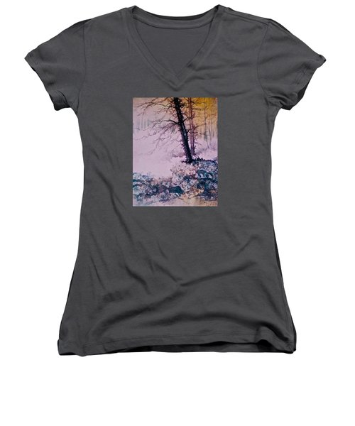 Whispers In The Fog  Partii Women's V-Neck T-Shirt (Junior Cut) by Carolyn Rosenberger