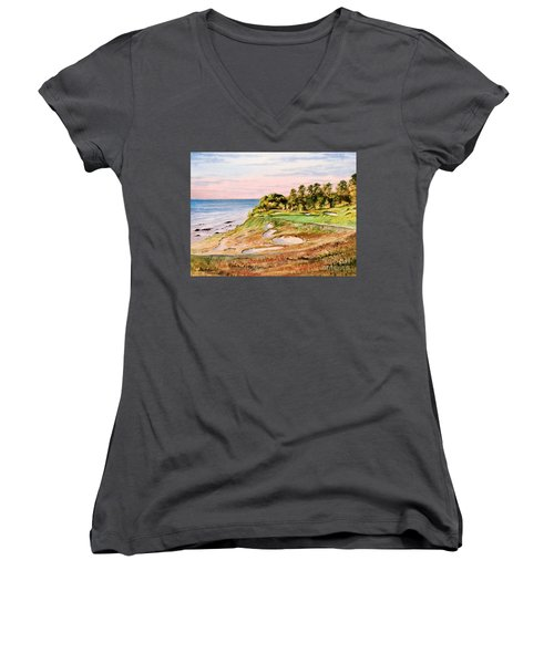 Whistling Straits Golf Course 17th Hole Women's V-Neck T-Shirt (Junior Cut) by Bill Holkham