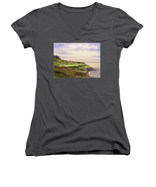 Whistling Straits Golf Course Hole 7 Women's V-Neck T-Shirt (Junior Cut) by Bill Holkham