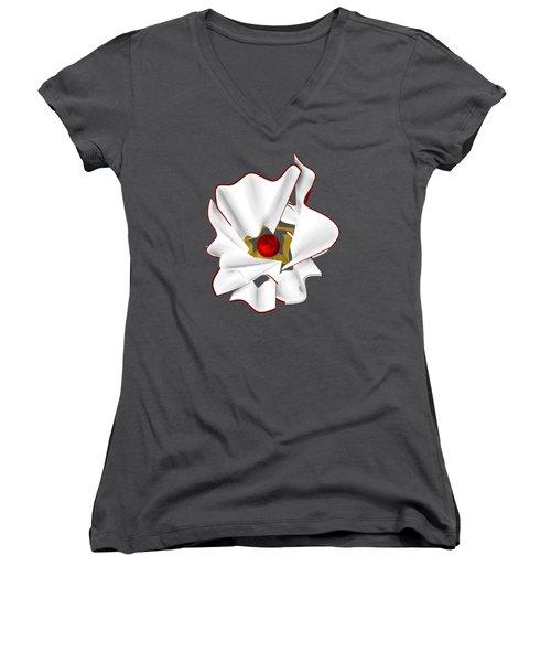 White Abstract Flower Women's V-Neck