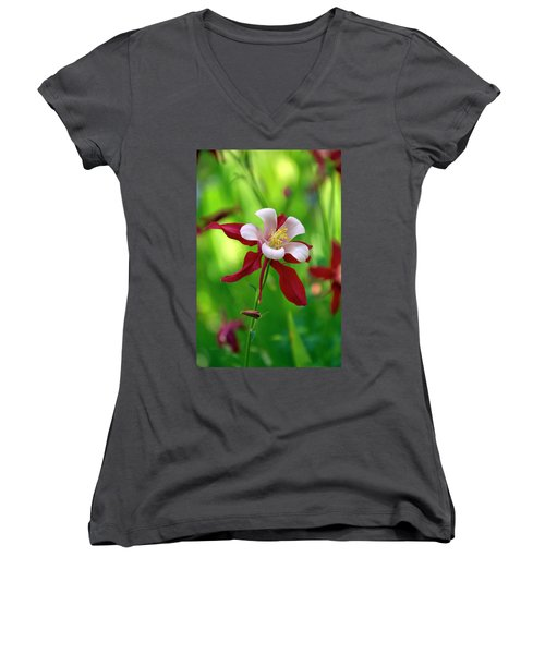 Women's V-Neck T-Shirt (Junior Cut) featuring the photograph White And Red Columbine  by James Steele