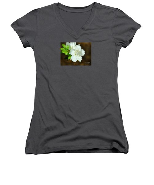 Women's V-Neck T-Shirt (Junior Cut) featuring the photograph White Azalea  by Rand Herron