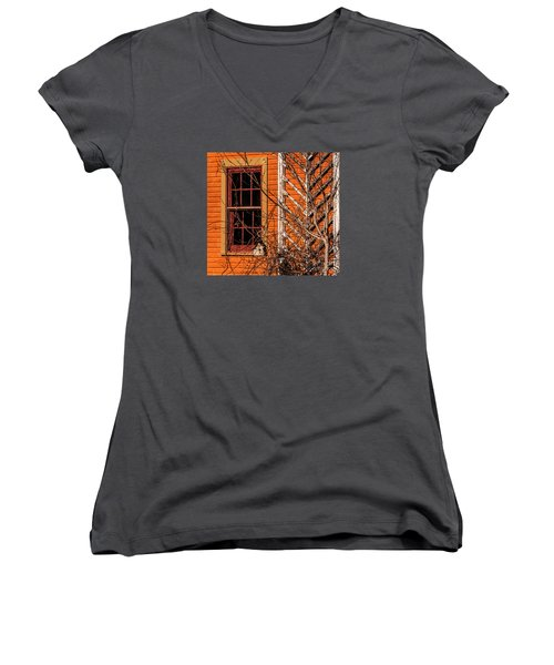 Women's V-Neck T-Shirt (Junior Cut) featuring the photograph White Bird House by Trey Foerster