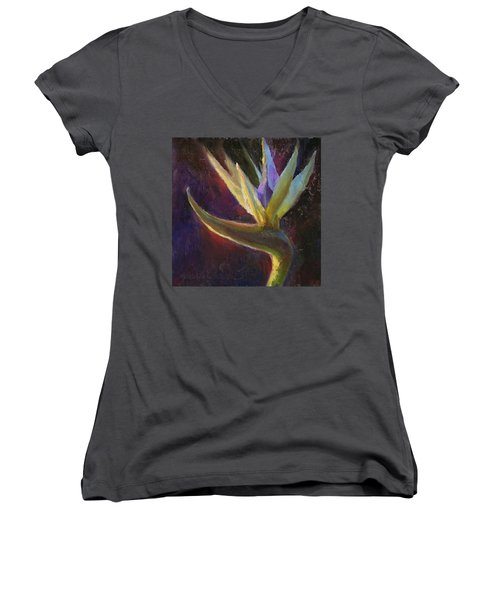 Women's V-Neck T-Shirt (Junior Cut) featuring the painting White Bird Of Paradise -tropical Flower Painting by Karen Whitworth