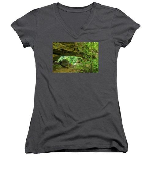 White Branch Arch Women's V-Neck T-Shirt (Junior Cut) by Ulrich Burkhalter