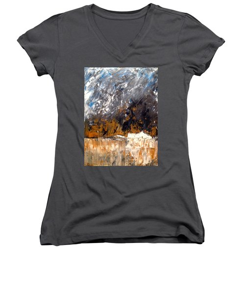 White Buildings No.3 Women's V-Neck (Athletic Fit)