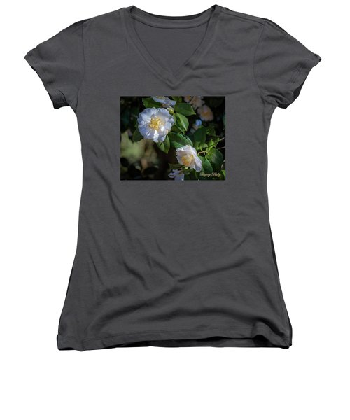 White Camelia 02 Women's V-Neck T-Shirt
