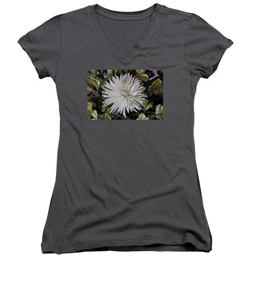 White Chrysanthemum Women's V-Neck