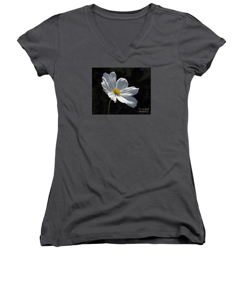 White Cosmos Women's V-Neck (Athletic Fit)