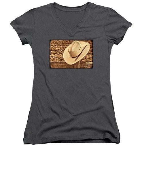 White Cowboy Hat On Fence Women's V-Neck