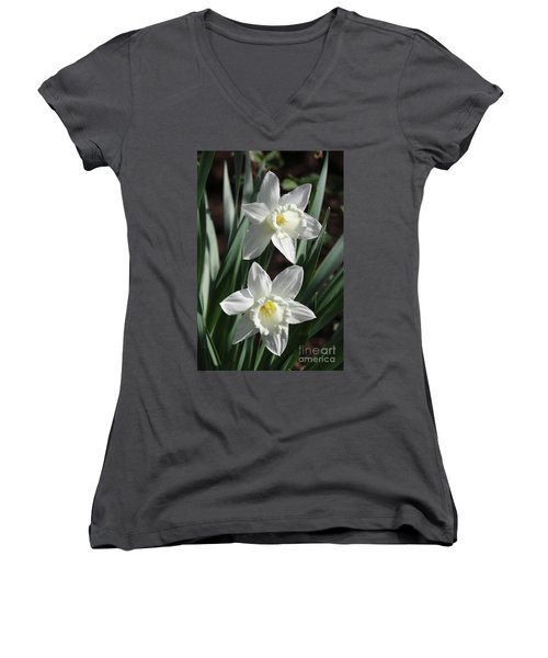 White Daffodils #2 Women's V-Neck (Athletic Fit)