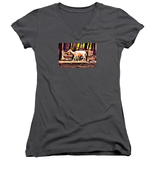 White Deer And Forest Stroll Women's V-Neck (Athletic Fit)