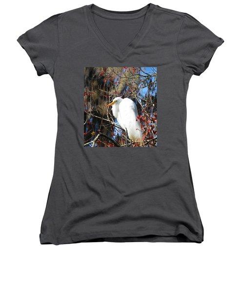 White Egret Bird Women's V-Neck (Athletic Fit)