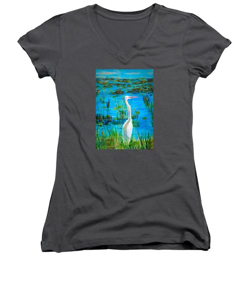 White Egret In Florida Women's V-Neck