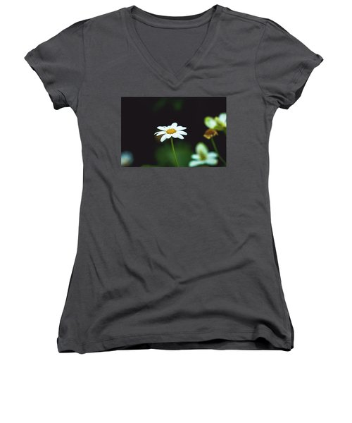 White Flower Women's V-Neck (Athletic Fit)