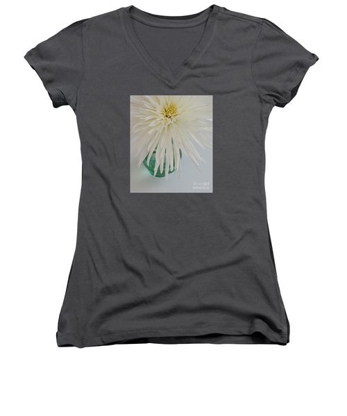 White Flower In A Vase By Jasna Gopic Women's V-Neck T-Shirt (Junior Cut) by Jasna Gopic
