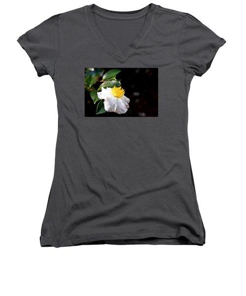 White Flower-so Silky And White Women's V-Neck