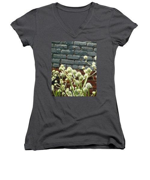 White Flowers And Bricks Women's V-Neck T-Shirt (Junior Cut) by Susan Lafleur