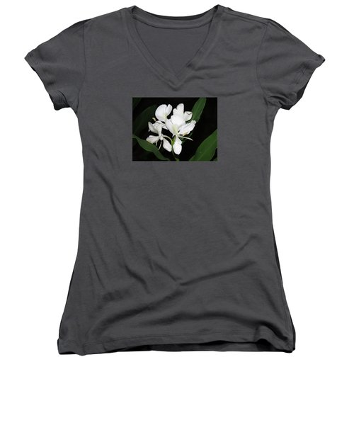 Women's V-Neck T-Shirt (Junior Cut) featuring the photograph White Ginger by Phyllis Beiser