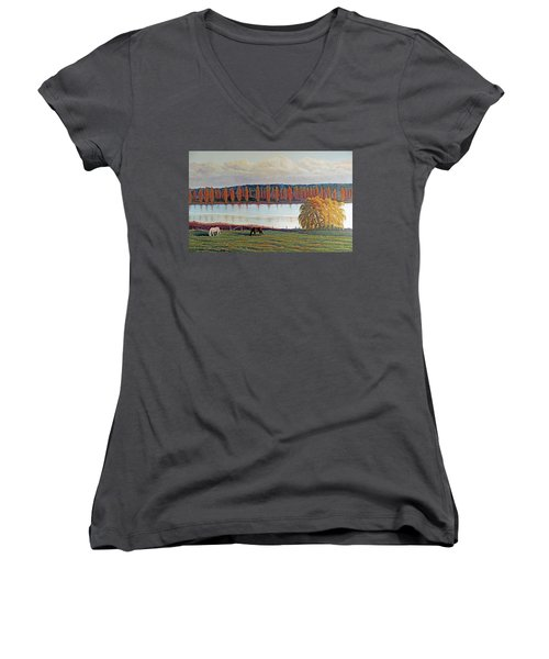 Women's V-Neck T-Shirt (Junior Cut) featuring the painting White Horse Black Horse by Laurie Stewart