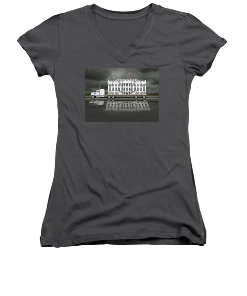 White House Being Delivered Women's V-Neck (Athletic Fit)