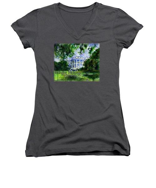 White House Dc Shirt Women's V-Neck (Athletic Fit)