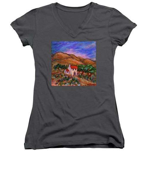 Women's V-Neck T-Shirt featuring the painting White House In An Oak Grove by Xueling Zou
