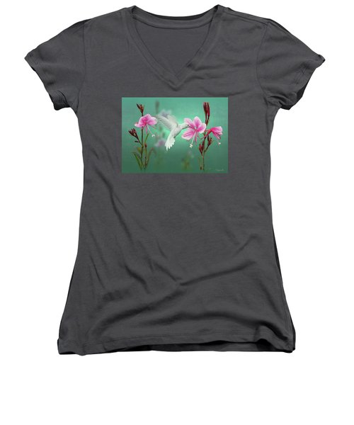 White Hummingbird And Pink Guara Women's V-Neck (Athletic Fit)