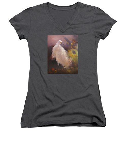 White Hunter Women's V-Neck T-Shirt (Junior Cut) by Donelli  DiMaria