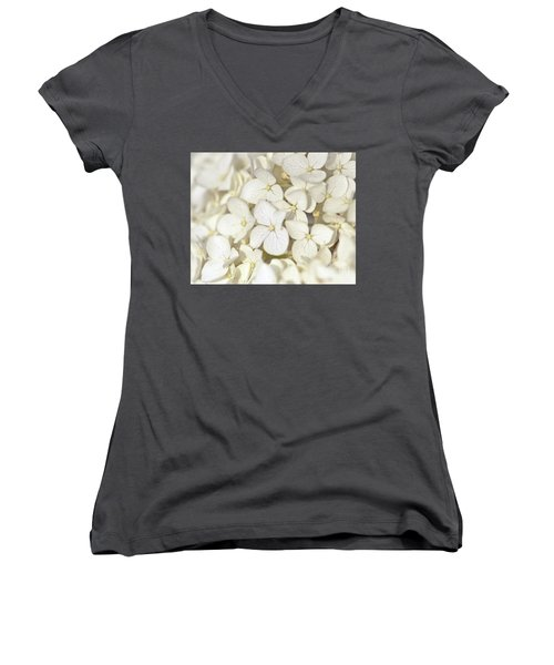Women's V-Neck T-Shirt featuring the photograph White Hydrangea by Kerri Farley