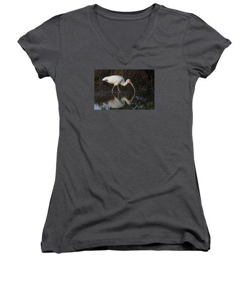White Ibis Feeding In Morning Light Women's V-Neck T-Shirt
