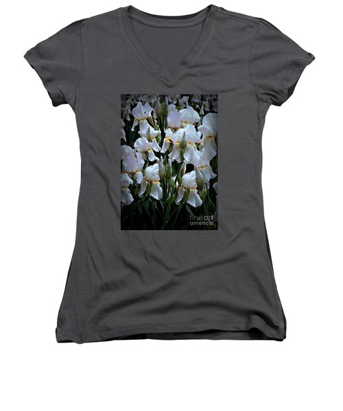 White Iris Garden Women's V-Neck T-Shirt