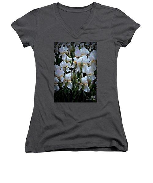 White Iris Garden Women's V-Neck T-Shirt