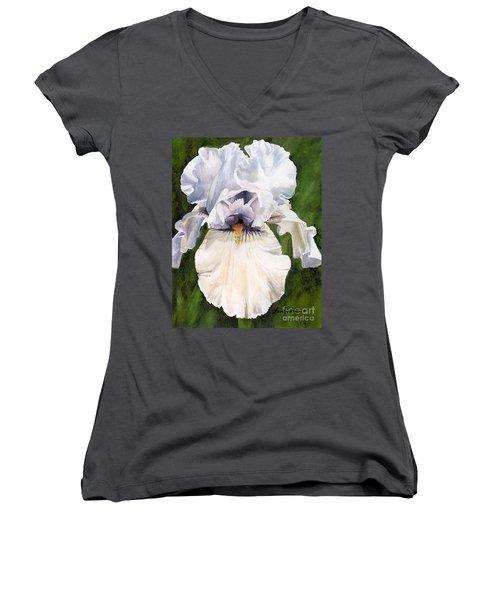 White Iris Women's V-Neck T-Shirt (Junior Cut) by Laurie Rohner
