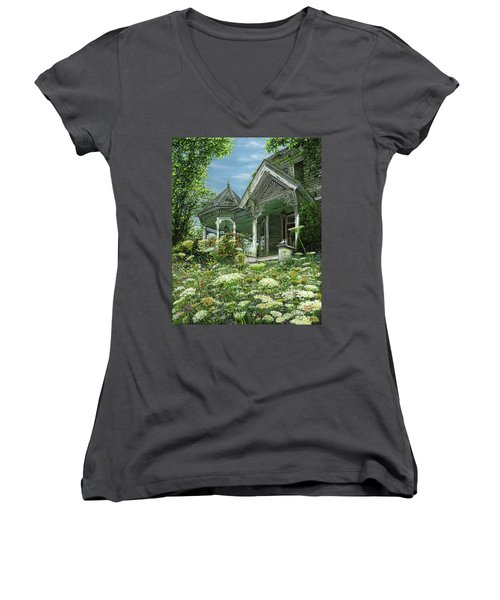 Women's V-Neck T-Shirt (Junior Cut) featuring the painting White Lace And Promises Abandoned by Doug Kreuger