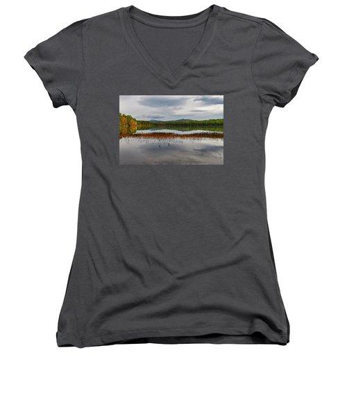 Women's V-Neck featuring the photograph White Lake Fall Chocorua Nh by Michael Hubley