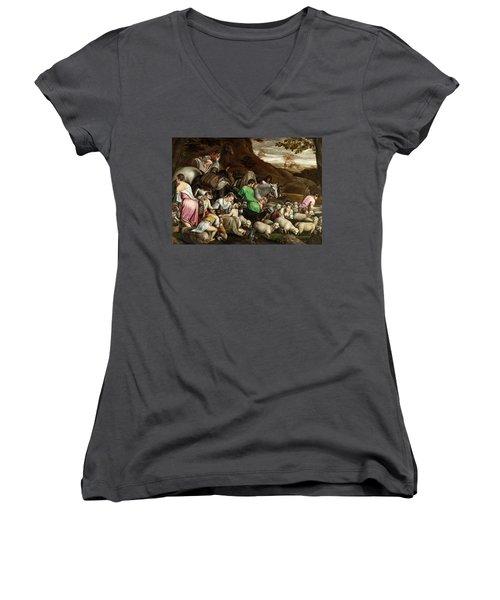 Women's V-Neck T-Shirt (Junior Cut) featuring the photograph White Lambs by Munir Alawi