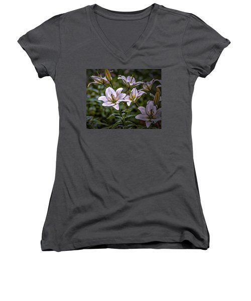 White Lilies #g5 Women's V-Neck (Athletic Fit)