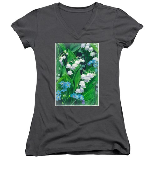 White Lilies Of The Valley Women's V-Neck T-Shirt (Junior Cut) by Sergey Lukashin
