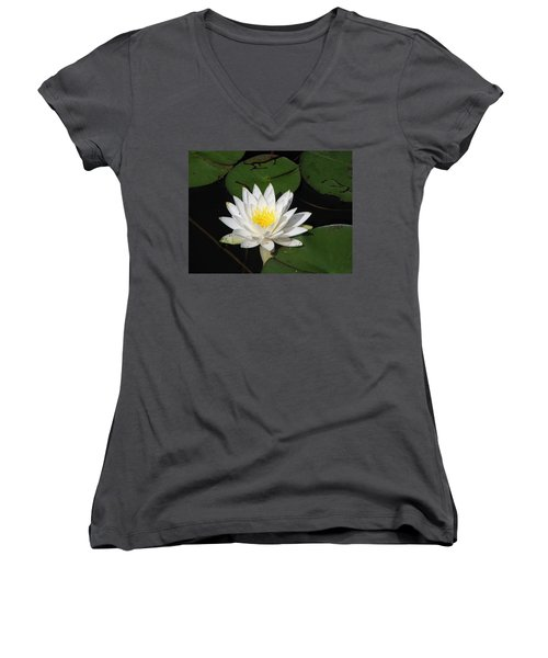 White Lily Pad Women's V-Neck (Athletic Fit)