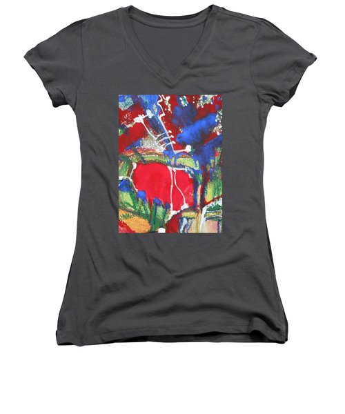 White Lines And Dots Women's V-Neck